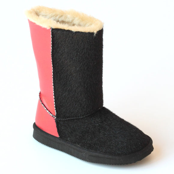 L'Amour Girls D970 Black Red Two Tone Furry Boots