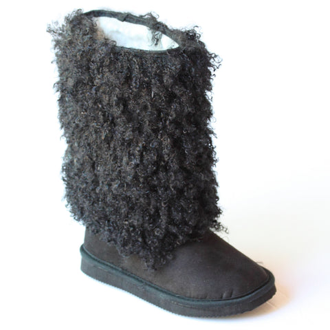 L'Amour Girls D990 Black Faux Shearling Boots
