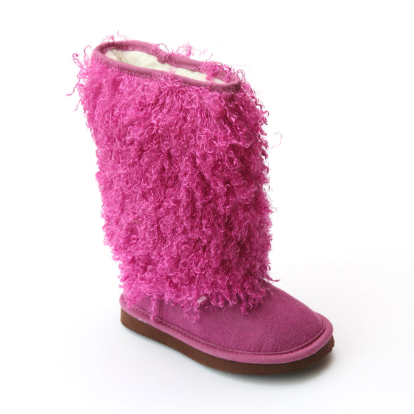 L'Amour Girls D990 Fuchsia Faux Shearling Boots - Babychelle.com