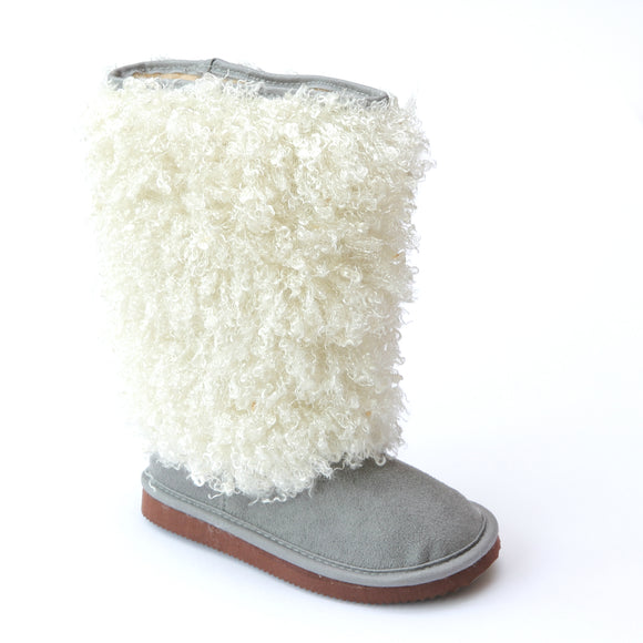 FINAL SALE - L'Amour Girls D990 Gray Faux Shearling Boots