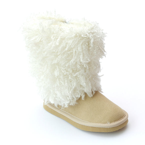 L'Amour Girls D990 Tan Faux Shearling Boots - Babychelle.com