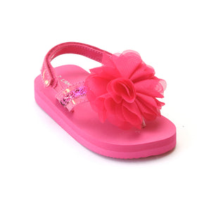L'Amour Girls Fuchsia Sequin EVA Foam Sandals with Strap - Babychelle.com