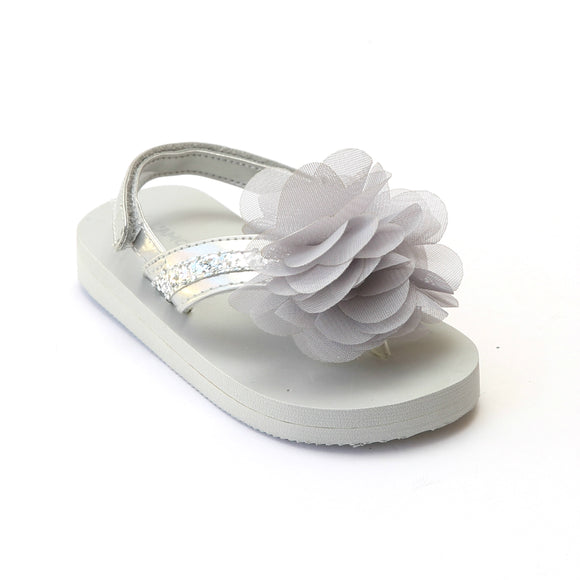 L'Amour Toddler Girls Silver Sequin EVA Foam Flip Flops - Babychelle.com