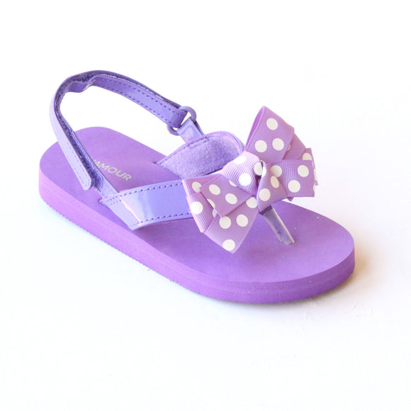 L'Amour Girls Polka Dot Bow Purple Flip Flop Sandals