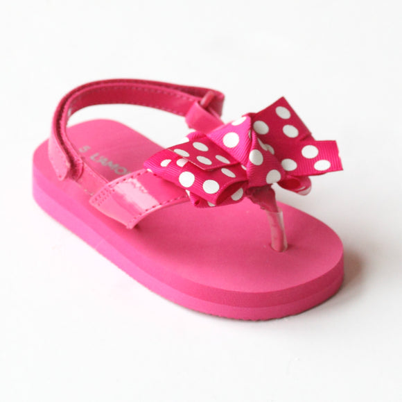 L'Amour Girls Fuchsia Polka Dot Bow Flip Flops