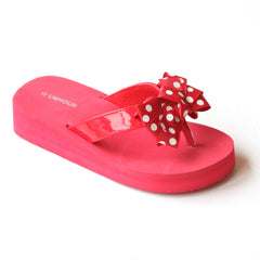 L'Amour Girls Red Polka Dot Bow Flip Flops
