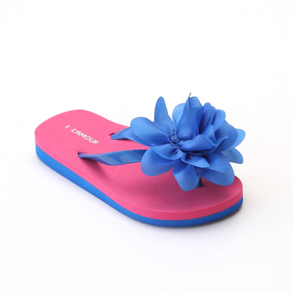 L'Amour Girls Royal Organza Flower Flip Flops - Babychelle.com