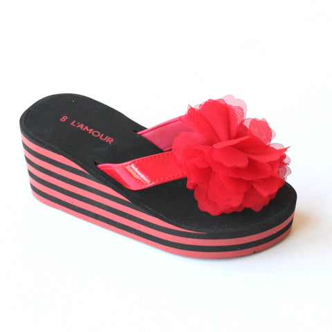 L'Amour Girls E272 Striped Wedge Flip Flops