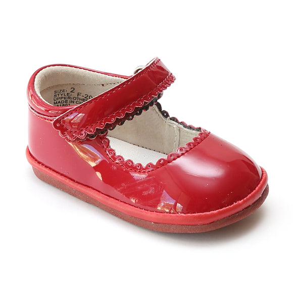 Angel Baby Girls Patent Red Scalloped Mary Jane - Babychelle.com