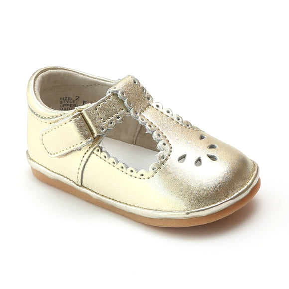 Angel Baby Girls Gold Scalloped T-Strap Mary Janes - Babychelle.com