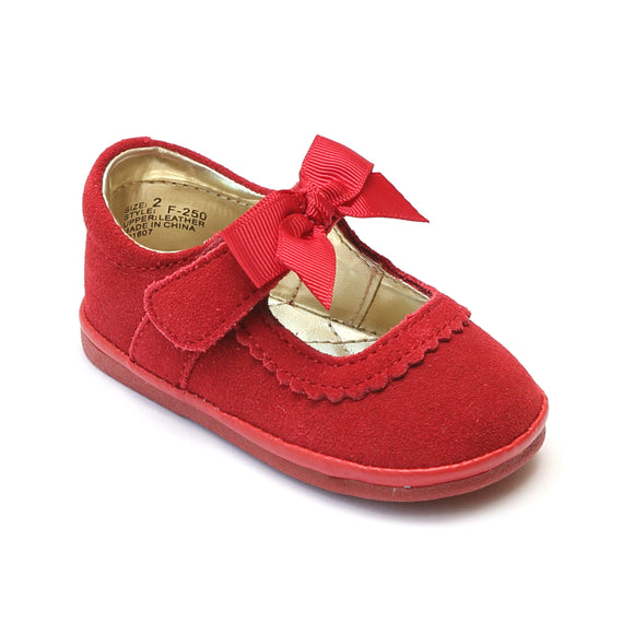 Angel Baby Girls Red Grosgrain Bow Mary Jane - Babychelle.com