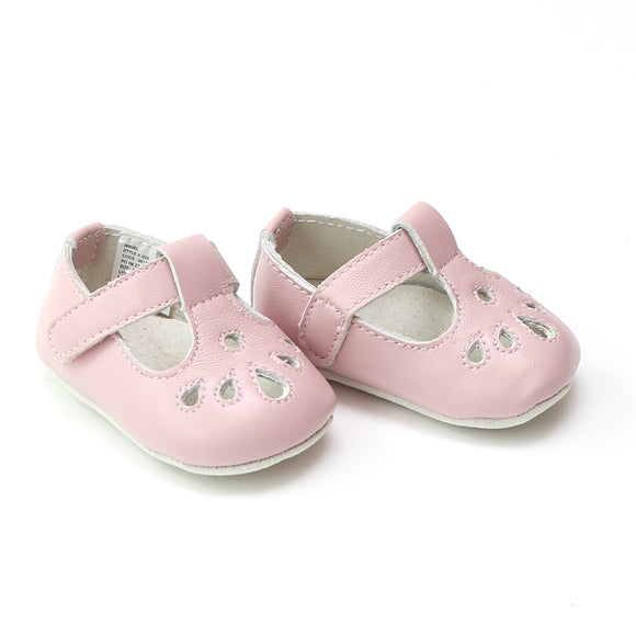 Angel Baby Infant Girls Pink Teardrop T-Strap Crib Mary Jane - Babychelle.com