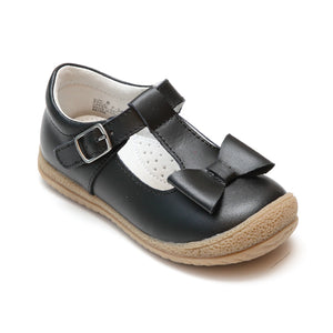 L'Amour Girls Black T-Strap Bow Mary Janes - Babychelle.com