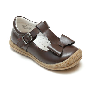 L'Amour Girls Brown T-Strap Bow Mary Janes - Babychelle.com