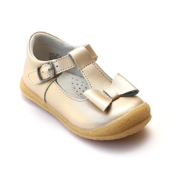 L'Amour Girls Champagne Leather T-Strap Bow Mary Janes - Babychelle.com