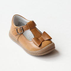 L'Amour Girls Golden Mustard T-Strap Bow Mary Janes
