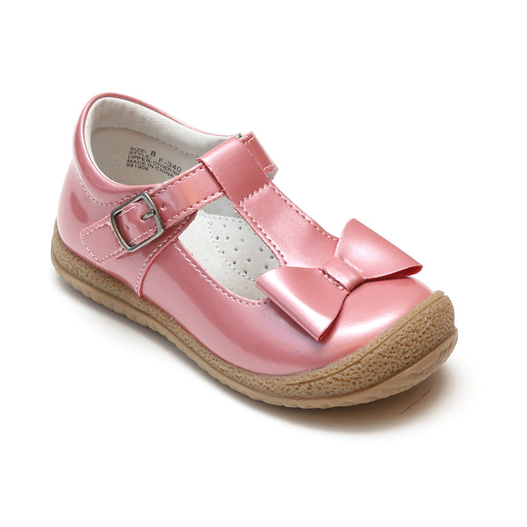 L'Amour Girls Glossy Melon T-Strap Bow Mary Janes - Babychelle.com