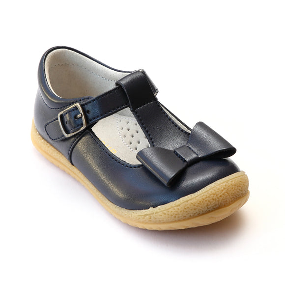 L'Amour Girls Navy T-Strap Bow Mary Janes - Babychelle.com
