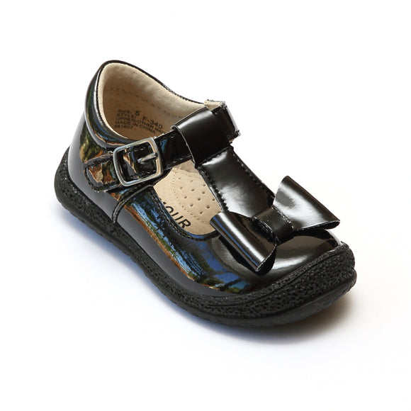 L'Amour Girls Patent Black T-Strap Bow Mary Janes - Babychelle.com