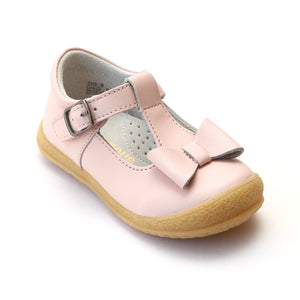 L'Amour Girls Pink Leather T-Strap Bow Mary Janes - Babychelle.com