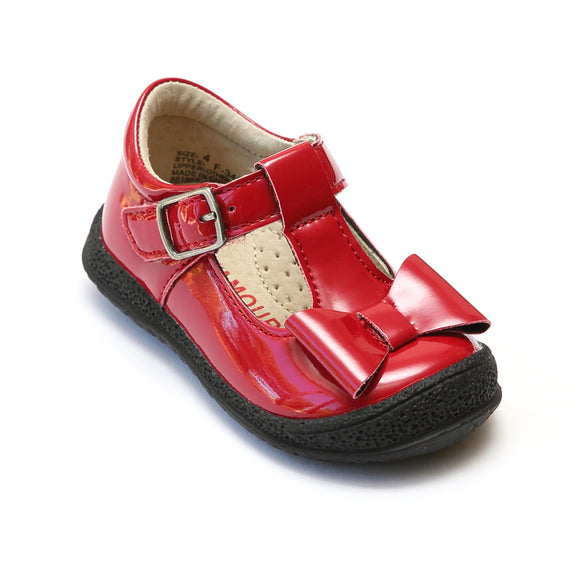 L'Amour Girls Patent Red T-Strap Bow Mary Janes - Babychelle.com