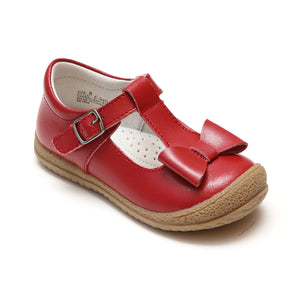 L'Amour Girls Red T-Strap Bow Mary Janes - Babychelle.com