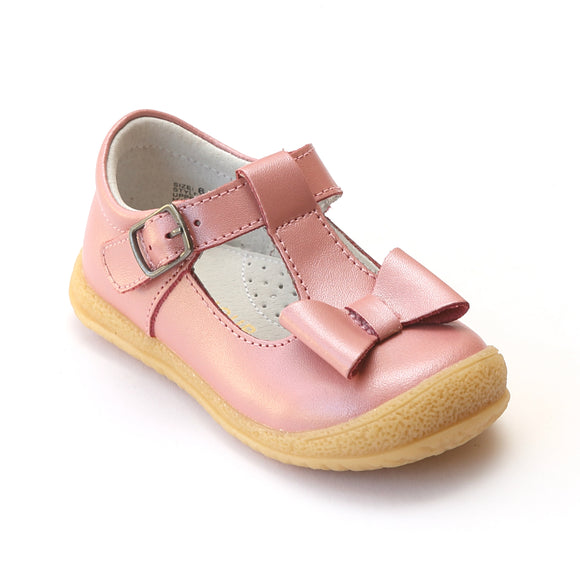 L'Amour Girls Guava Leather T-Strap Bow Mary Janes - Babychelle.com