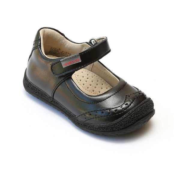L'Amour Girls Black Brogue Mary Janes - Babychelle.com