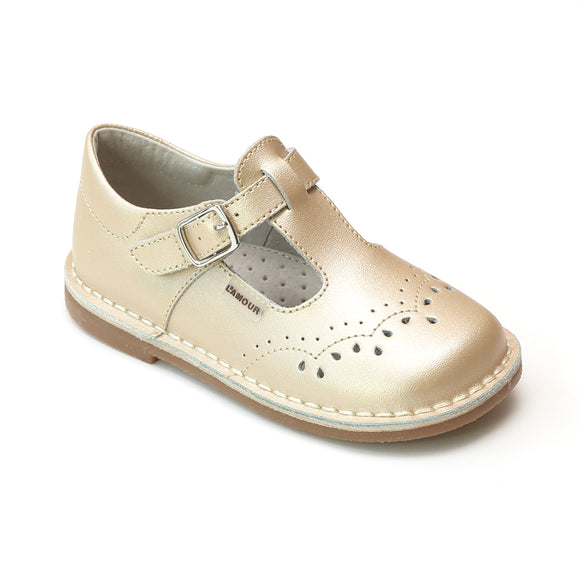 L'Amour Girls Champagne T-Strap Stitch Down Teardrop Mary Janes - Babychelle.com