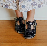 L'Amour Girls Patent Navy T-Strap Stitch Down Teardrop Mary Janes - Babychelle.com