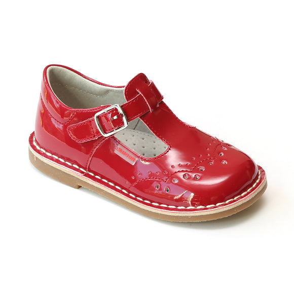L'Amour Girls Patent Red T-Strap Stitch Down Teardrop Mary Janes - Babychelle.com