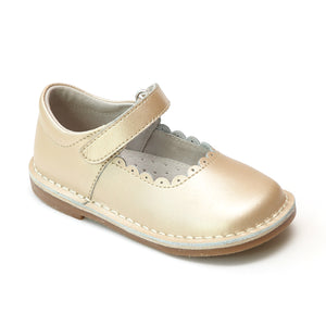 L'Amour Girls Scalloped Mary Janes - Classic Dressy Champagne - Babychelle.com