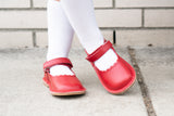 L'Amour Girls Scalloped Mary Janes - Classic Dressy Red - Babychelle.com