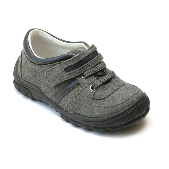 L'Amour Boys Gray Suede Lace Sneakers - Babychelle.om
