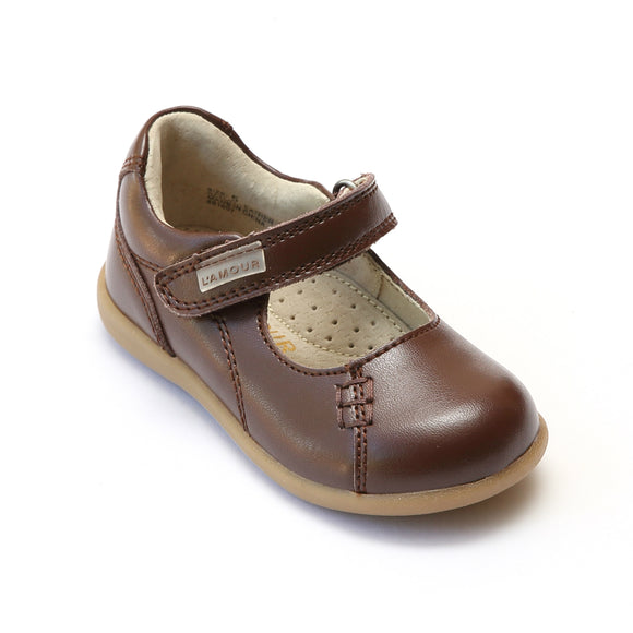 L'Amour Girls Matte Brown Leather Mary Janes - Babychelle.com