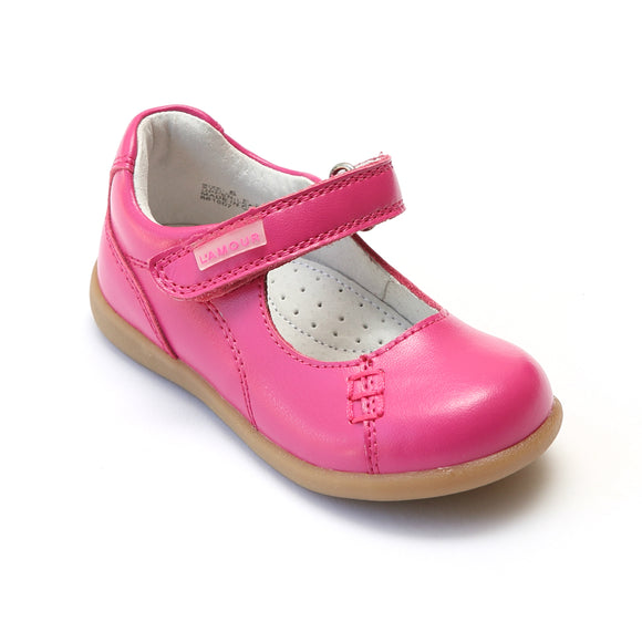 L'Amour Girls Matte Fuchsia Leather Mary Janes - Babychelle.com