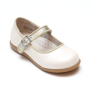 L'Amour Girls Olga Special Occasion Pearl White Leather Mary Jane with Piping - Babychelle.com