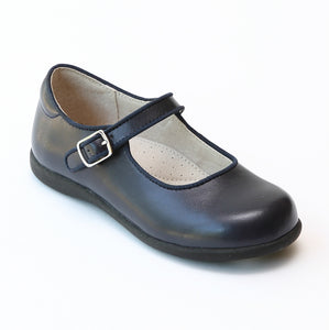 Girls Special Occasion Navy Leather Mary Jane Flats with Piping - Babychelle.com
