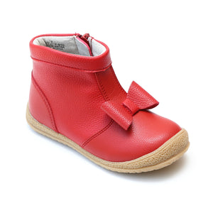 L'Amour Girls Red Bow Leather Zip Ankle Boot - Babychelle.com