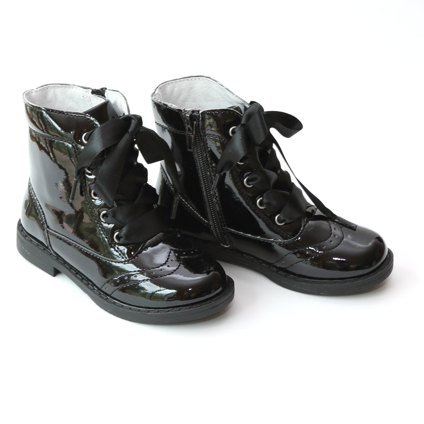 L'Amour Girls Patent Lace Up Boots