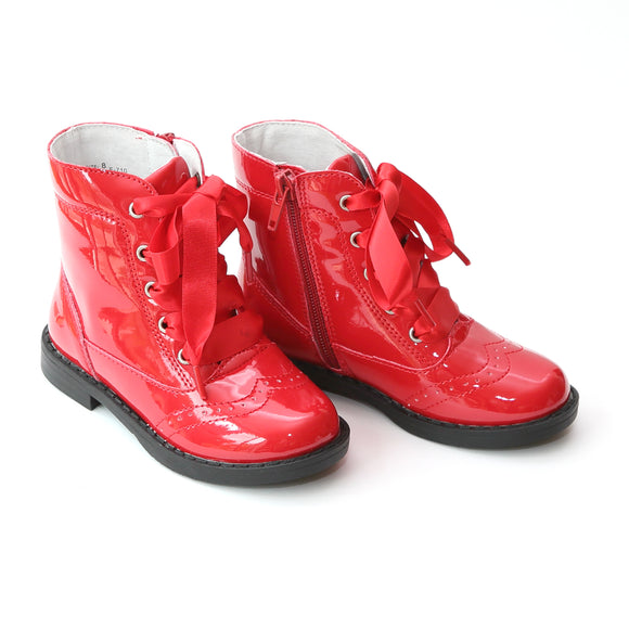 L'Amour Girls Patent Red Lace Up Boots - Babychelle.com