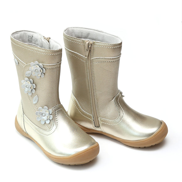L'Amour Girls Gold Leather Flower Mid Boots - Babychelle.com