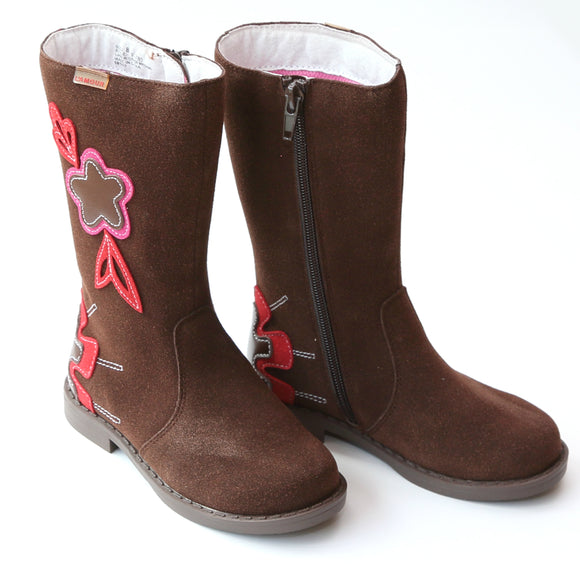 L'Amour Girls Brown Tall Flower Fall Boot - Babychelle.com