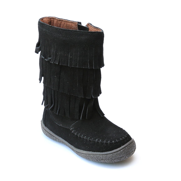 L'Amour Girls Black Suede Leather Fringe Boots - Babychelle.com