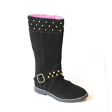 L'Amour Girls Studded Black Suede Tall Boots