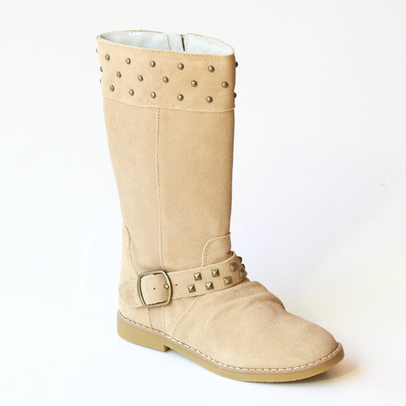 L'Amour Girls Studded Sand Suede Tall Boots