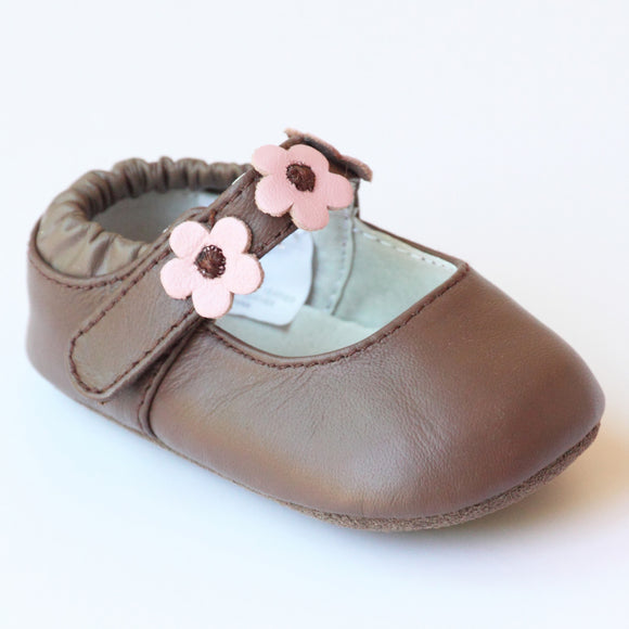 L'Amour Infant Girls F3002 Brown Flower Trio Mary Janes