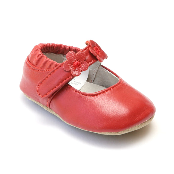 L'Amour Infant Girls Red Flower Trio Mary Janes - Babychelle.com