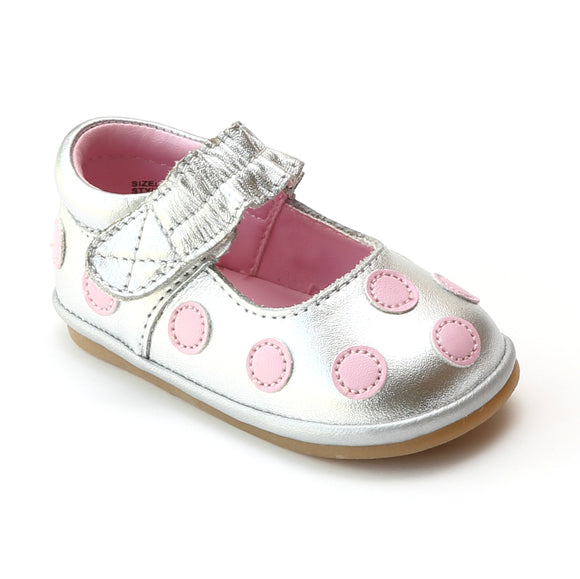 Angel Infant Girls G280 Polka Dot Silver Leather Mary Janes - Babychelle.com
