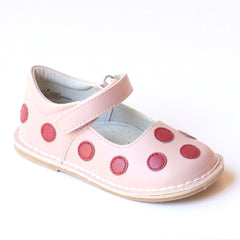 Angel Girls Red Polka Dot Pink Leather Mary Janes